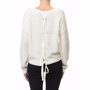 Tops - LACE UP SWEATER
